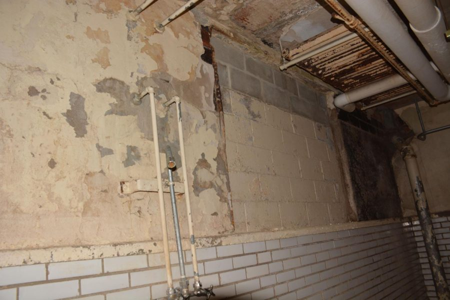 Wall of old pool in the basement