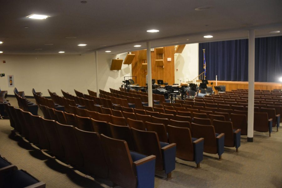 Stage size is inadequate to fit all students with instruments on stage for performances