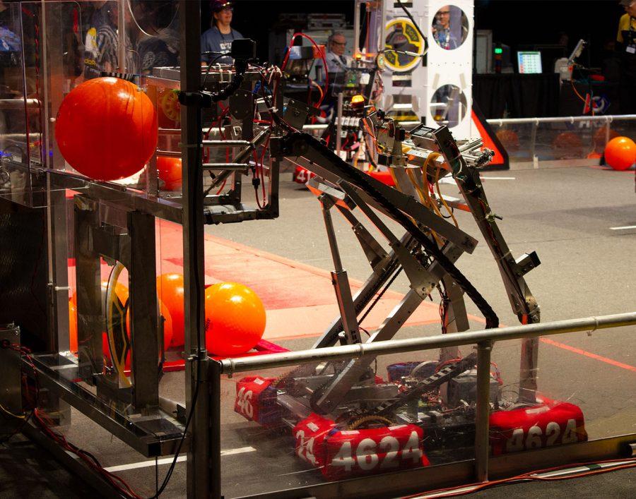 The robot receiving a ball