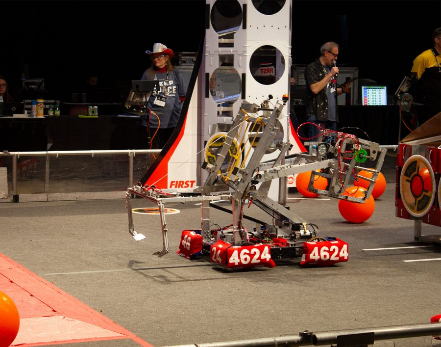 The robot lining up to climb the platform