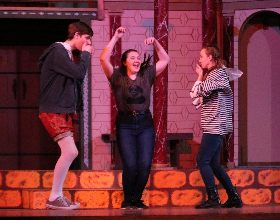 Juniors Kayla Mollenhauer, Ben Revier and Senior Kenna DaMitz perform the Othello rap