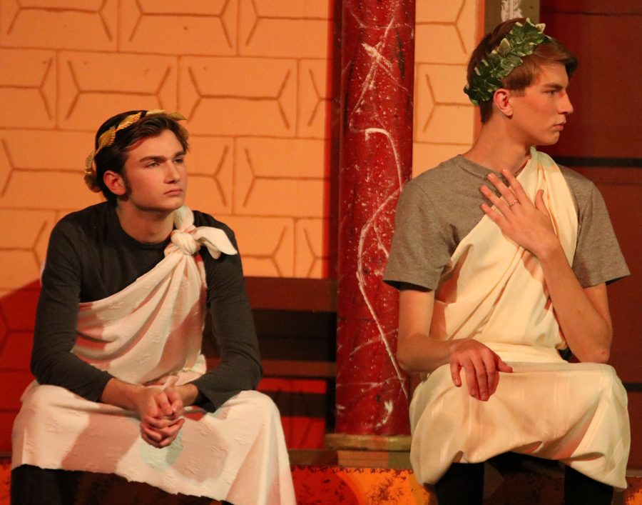 Evan Peterson as Julius Caesar and Andrew Williams
