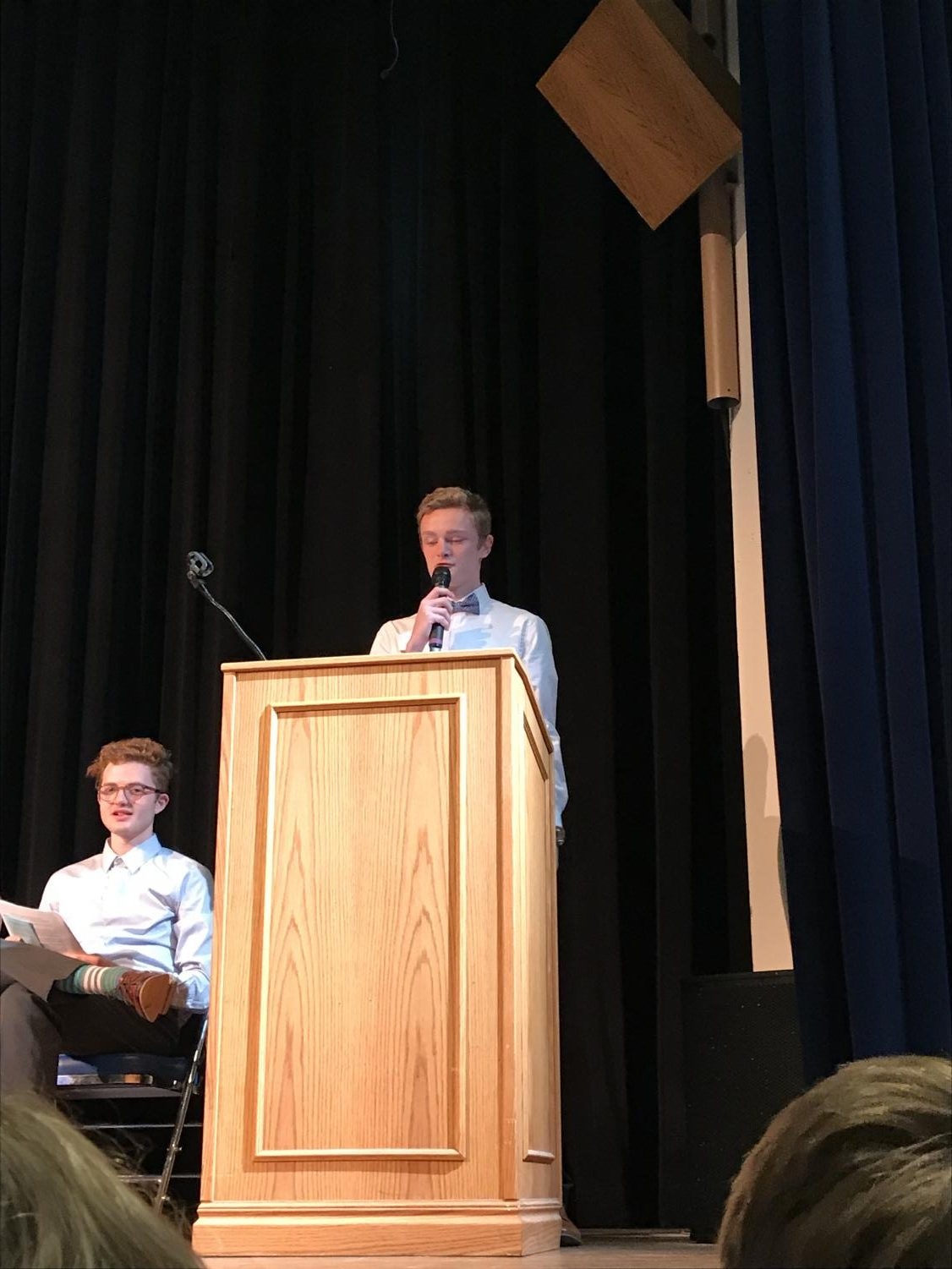 NHS President Zach Barrett giving a speech at the NHS induction ceremony