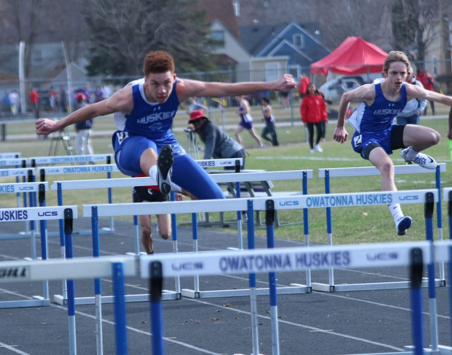 Owatonna Hurdlers running the 300 hundred