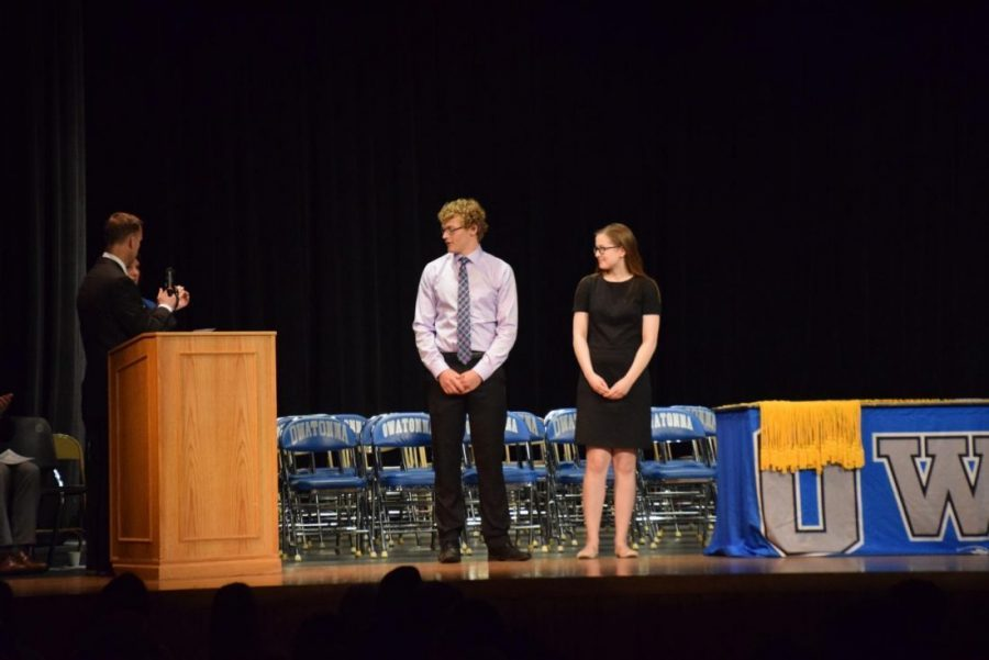Seniors Jacob Pfeifer and Melia Olson getting recognized for the Nation Merit Awards.