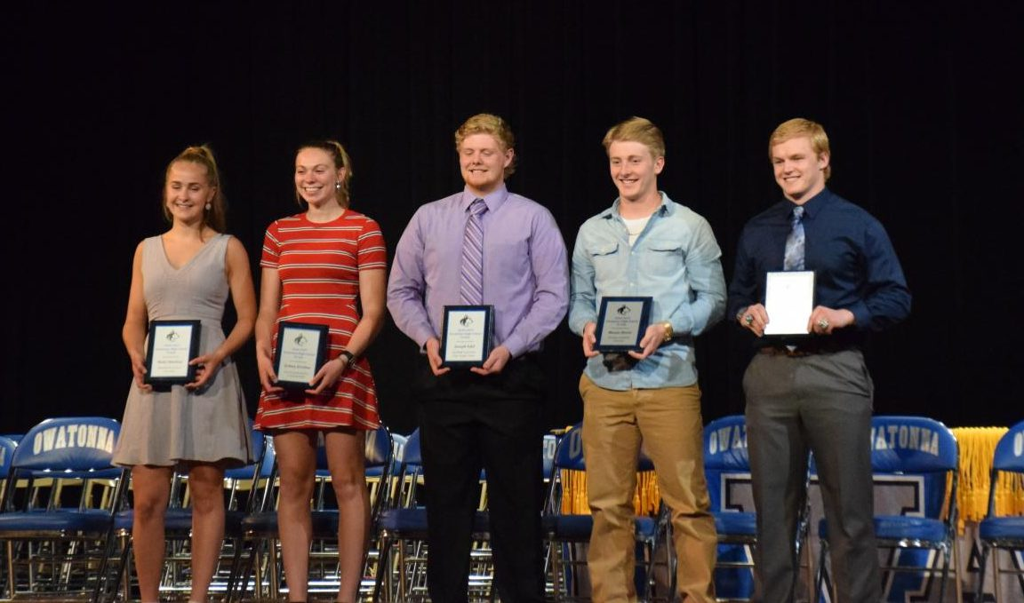 Student athletes receiving awards