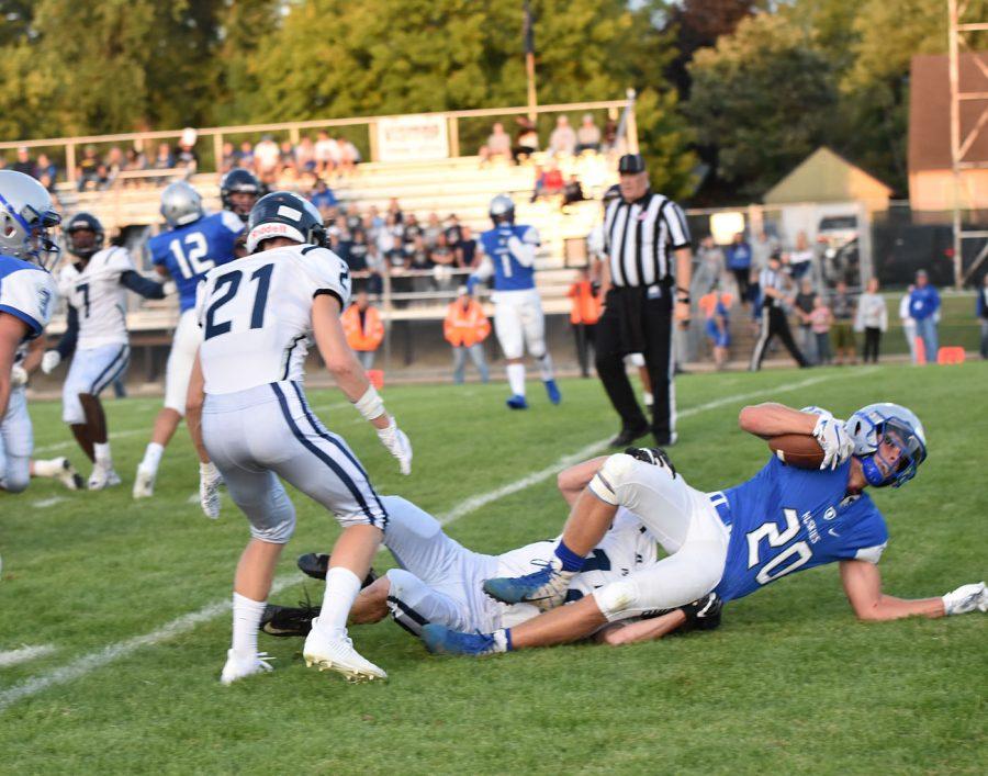 Junior Zach Stransky reaches for the endzone
