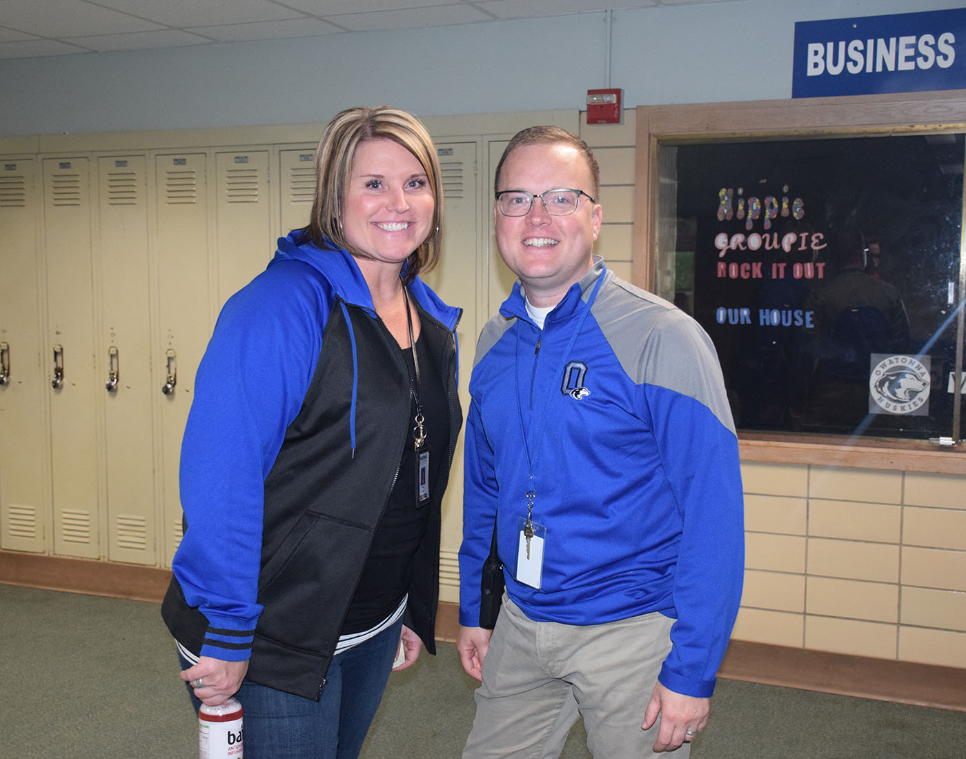 Mr, Kath poses with Ms. Jeska in the hallway