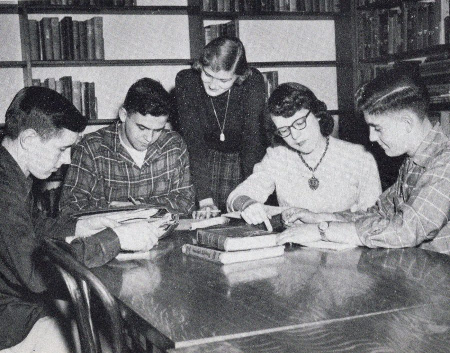 Students study in the library which is now Mr. Kuehns art room