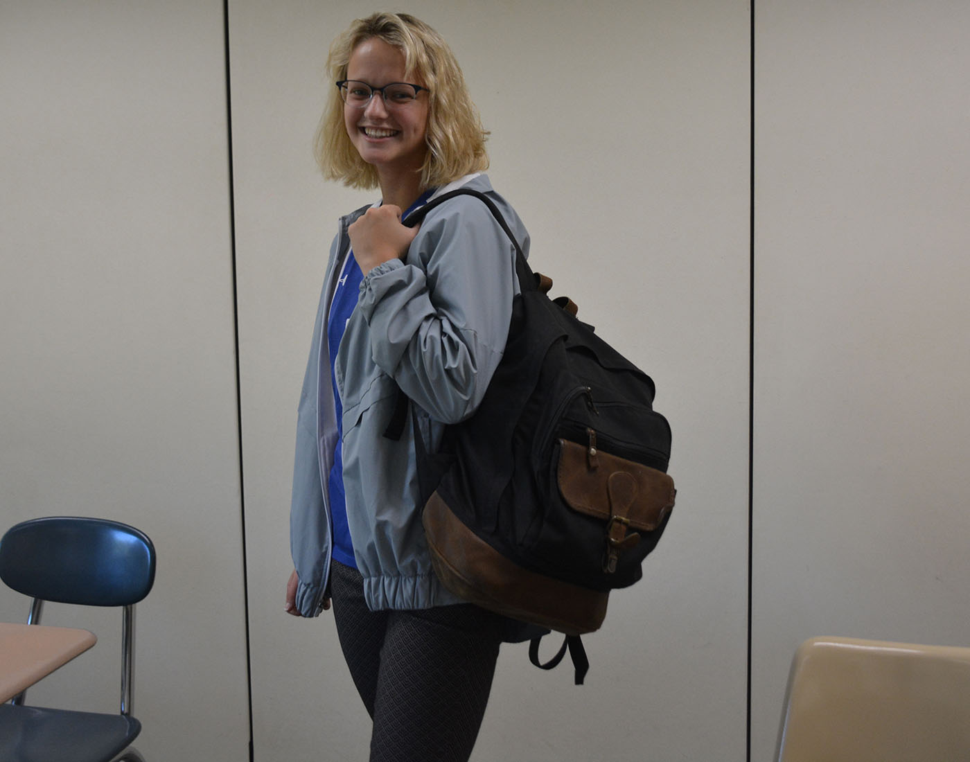 Junior Lily Sampson happy that she gets to wear her backpack around school