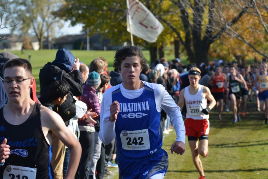 Preston Meier races toward the finish line