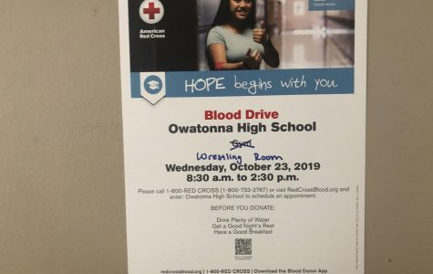 Poster for NHS blood drive. Photo by Tyler Harris