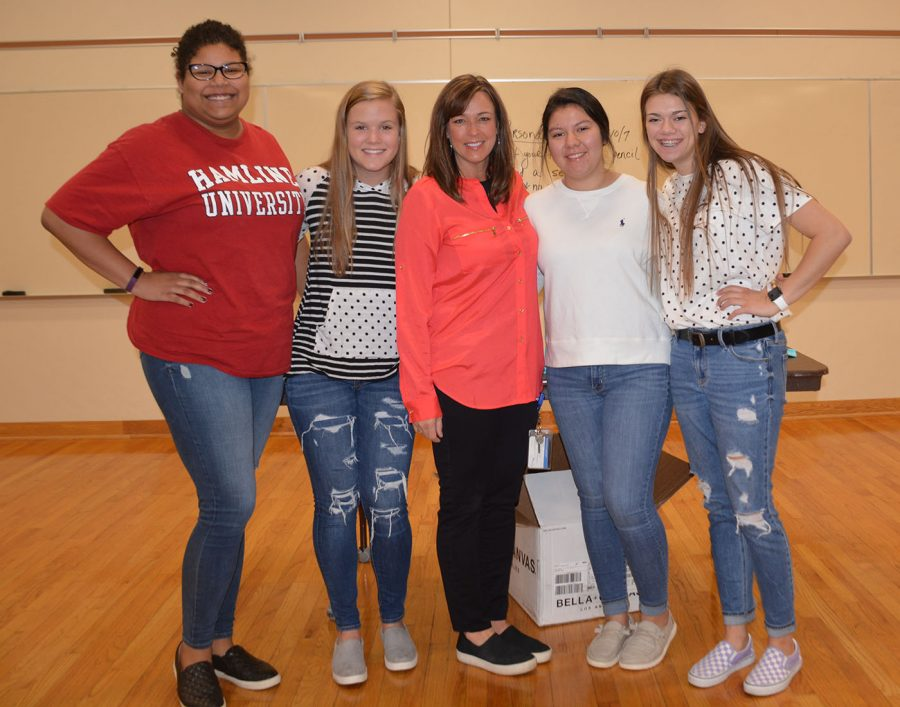 SHOC leaders left to right: Charity Jackson, Anna Vetch, Adviser Mrs. Nancy Williams, Maribel Maya and Maggie Newhouse