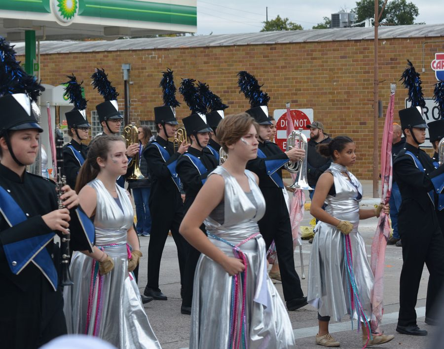 Flag bearers for the Owatonna marching band