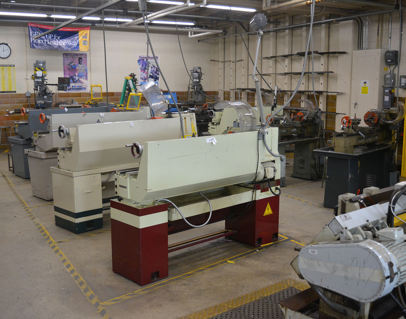 The Lathes, a machine that is used to help trim and cuts materials.