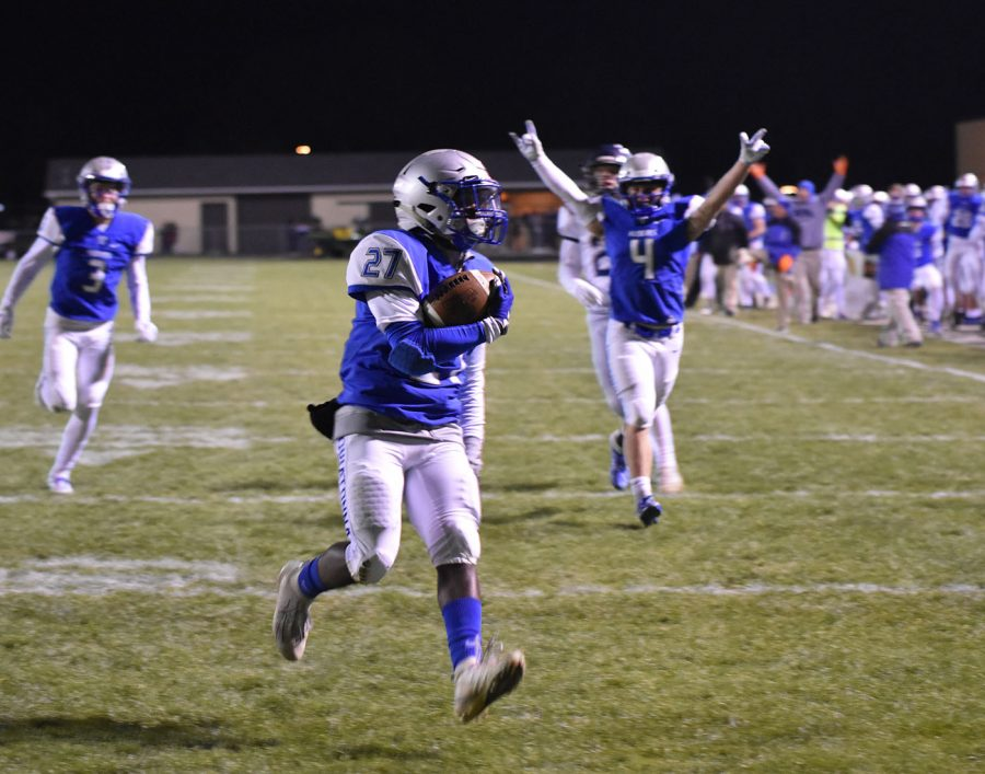 Tanner Hall in the end zone with his second touchdown of the first quarter