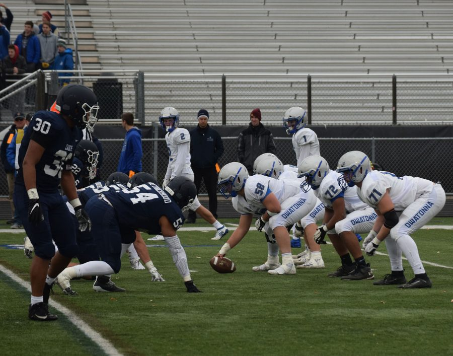 Owatonna Blue Collar gets set for the snap
