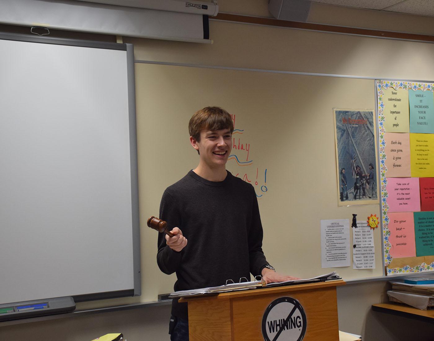 Senior captain Joey Bruegemeier addresses the group