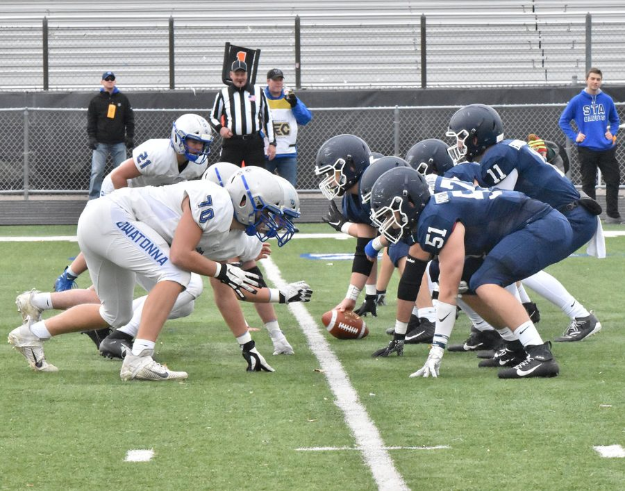 Owatonna defensive line faces off against STA