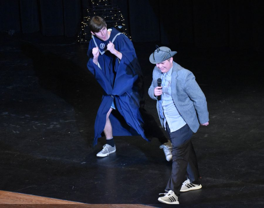 Junior Ashton Jensen performs his lip sync with assistance from Ben Revier