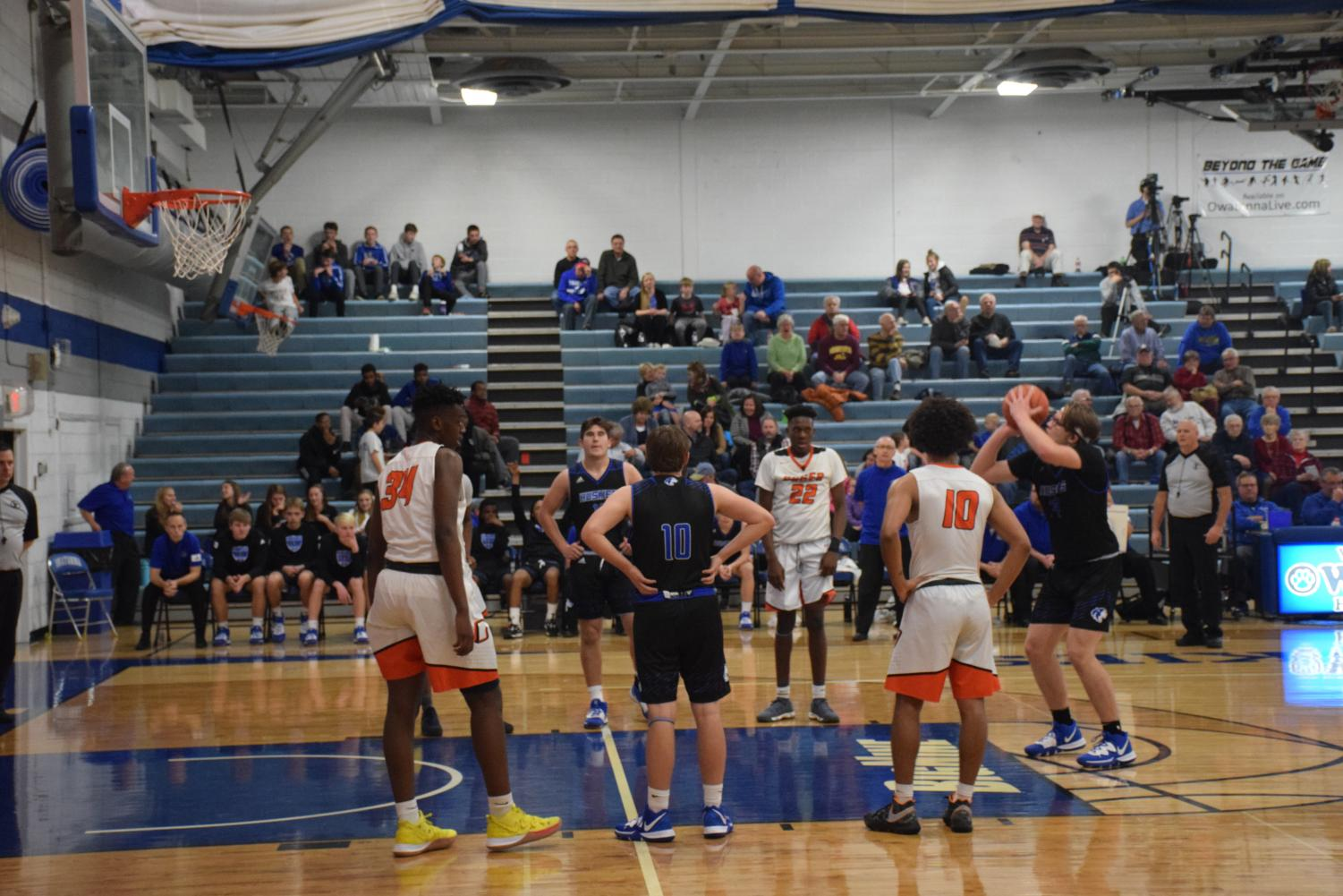 Evan Duschek goes up for a free throw