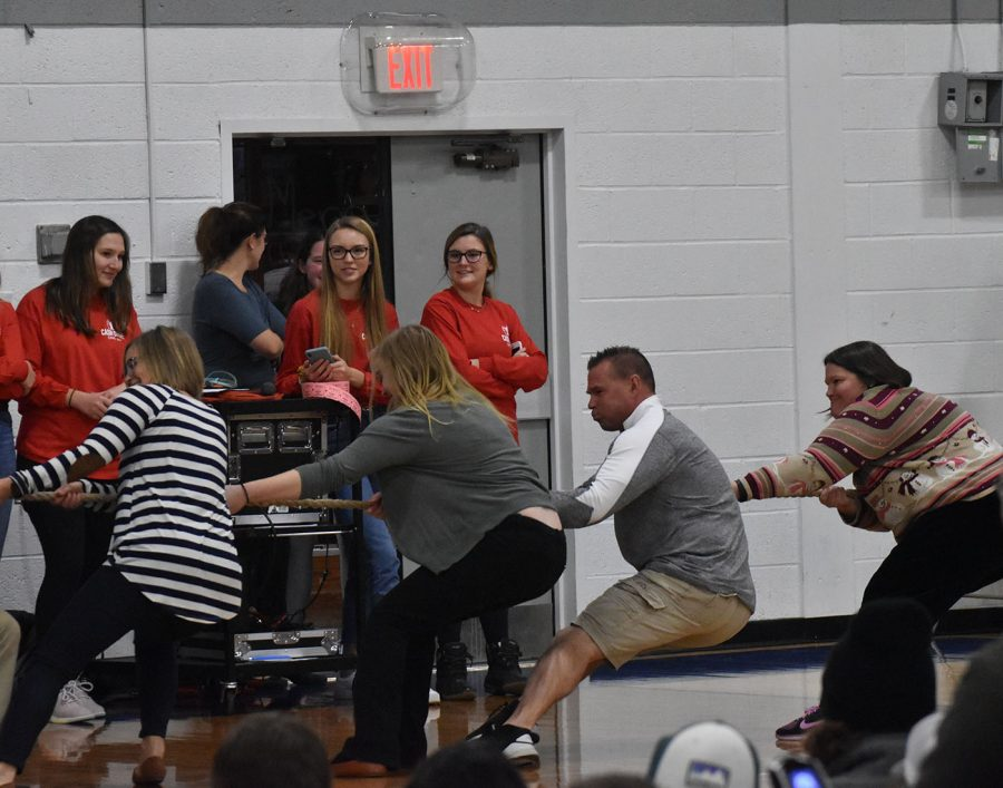 The winner of tug of war went on to compete with OHS teachers.