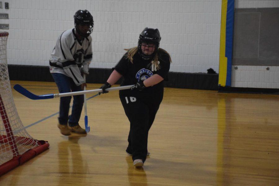 Kaitlynn Rsavvy chasing the puck