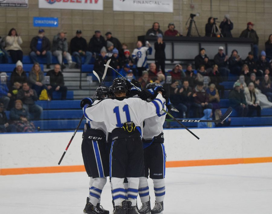 Owatonna Huskies celebrate after a goal