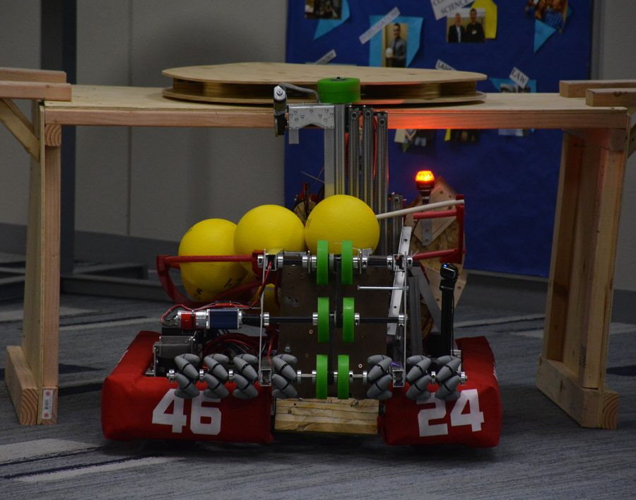 Robot demonstrating spinning the color wheel