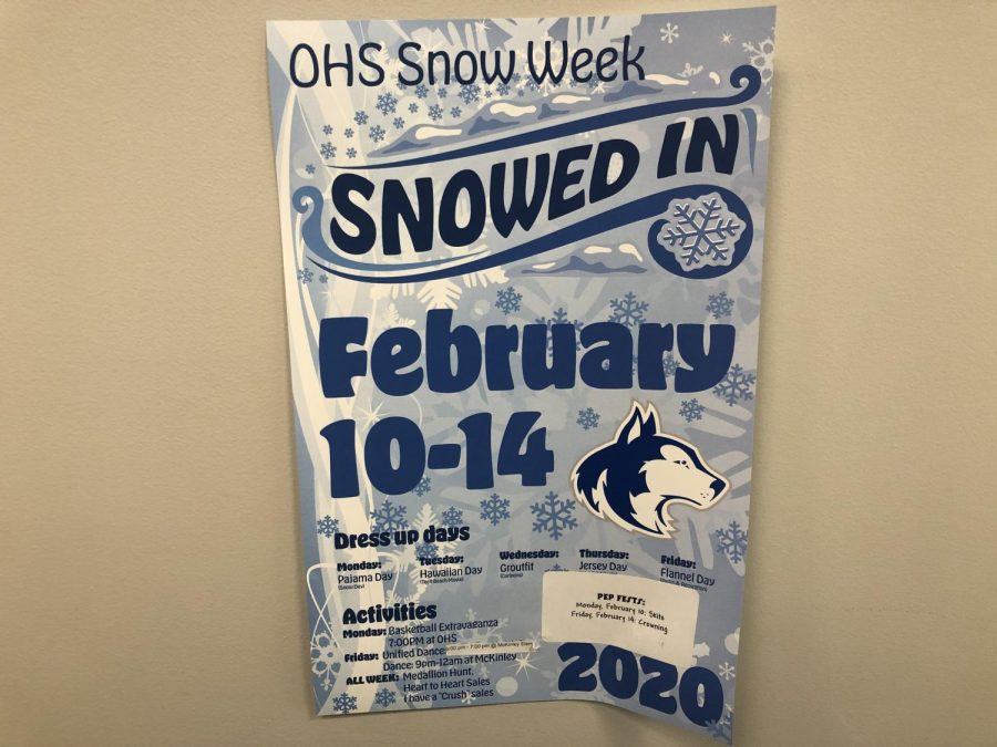 Posters are posted around the school previewing the events for Snow Week. (Tyler Harris)