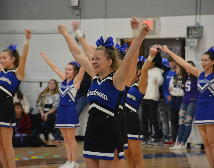Cheerleader Emily Larson during Friday's pep fest