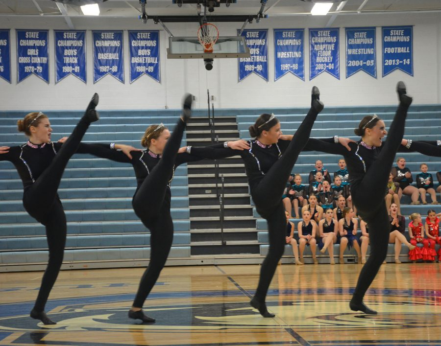 Dance team at kick line