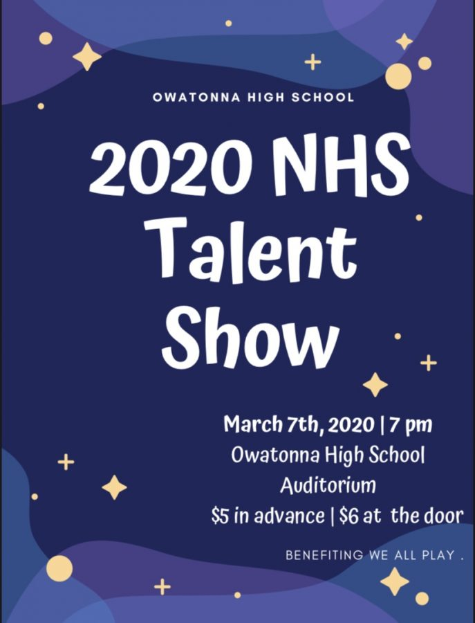 Poster promoting the 2020 NHS talent show supporting NHS and We-All Play