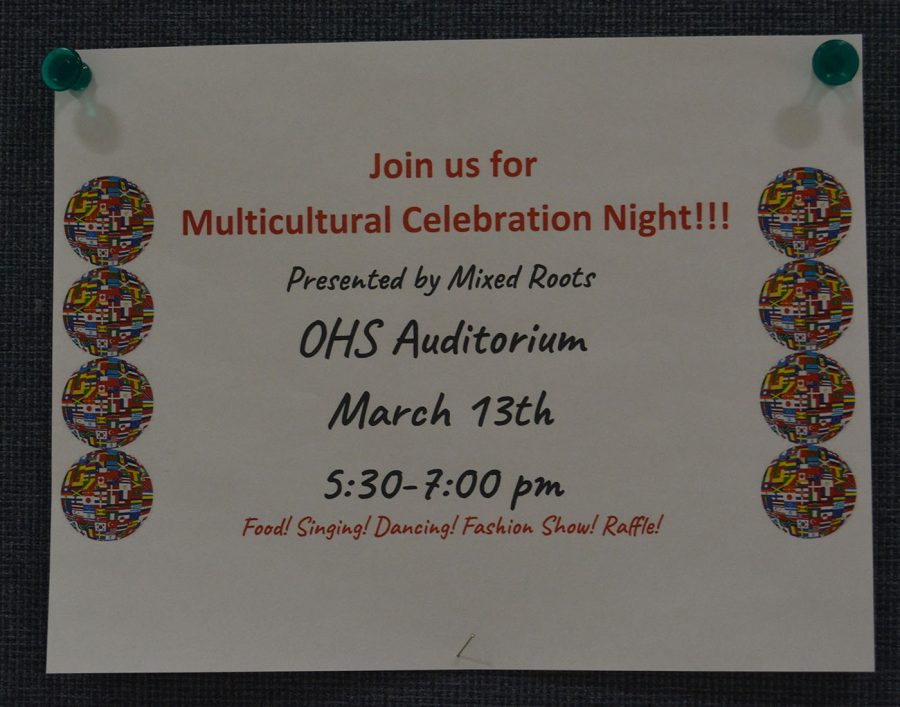 Poster advertising Multicultural night that will take place on Friday, March 13