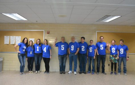 OHS math teachers dressed up in their National Pi Day T-shirts