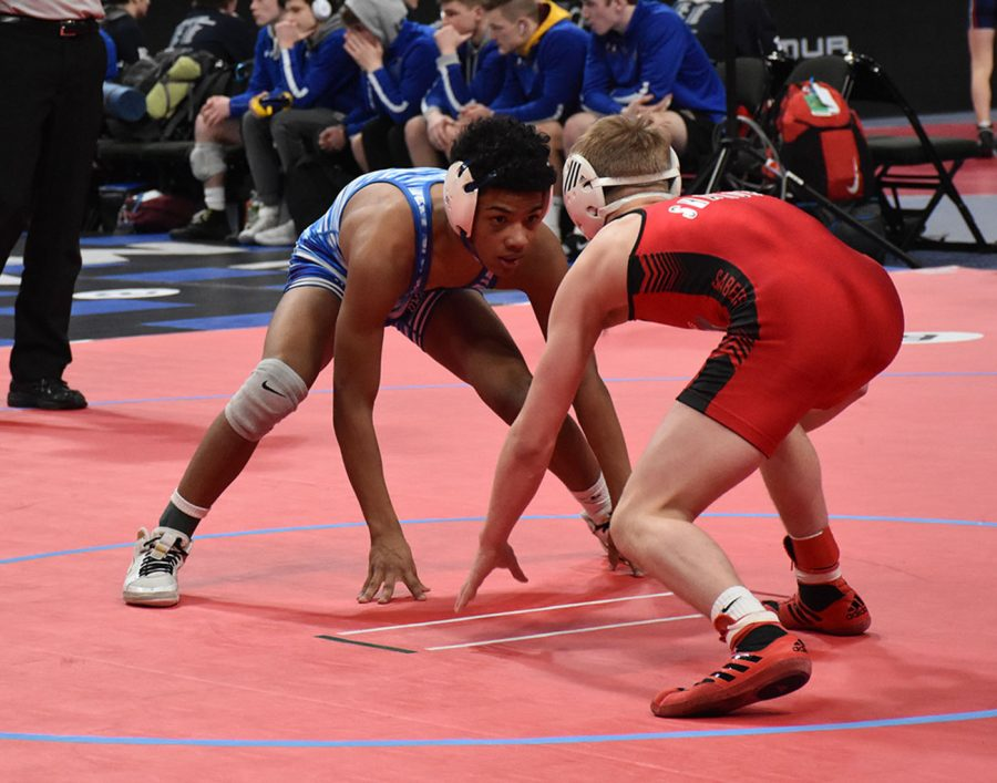 YJ Eveillard in the neutral position while facing Shakopee
