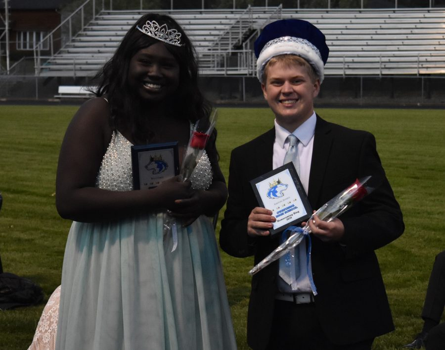 Wilo Omot and Ashton Jensen posing for a photo after being named king and queen
