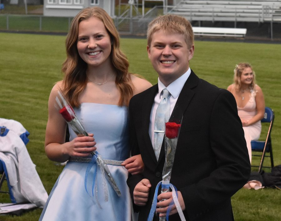 Sarah Kingland and Ashton Jensen pose for a picture during coronation