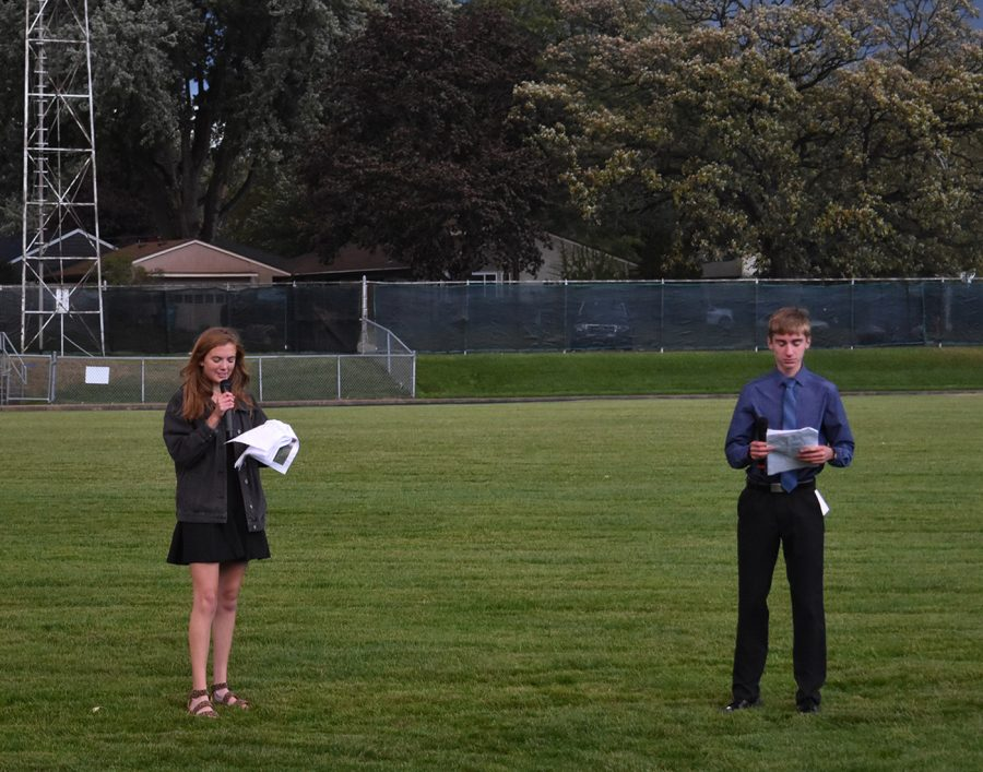 Emcees Lauren Thamert and Dylan Meiners announce homecoming royalty