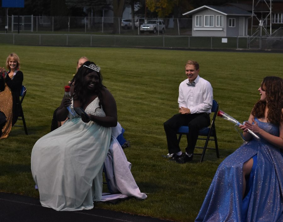 Senior Wilo Omot celebrates after being crowned homecoming queen