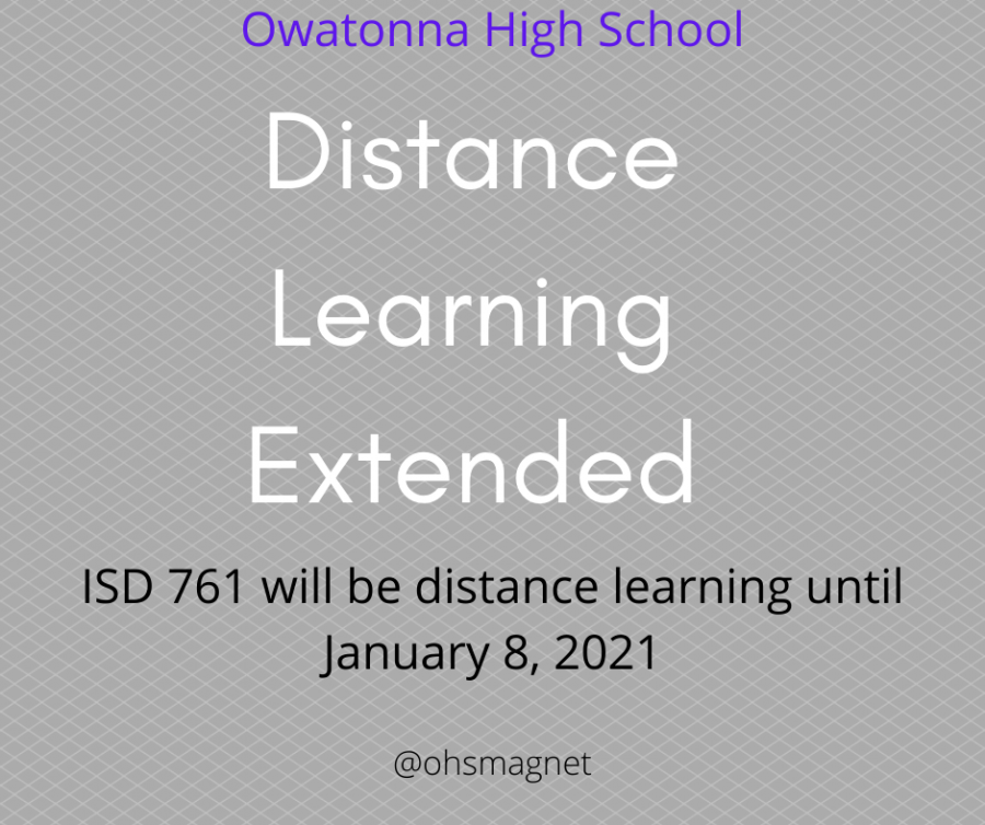Owatonna Public Schools will extend distance learning through Jan. 8, 2021