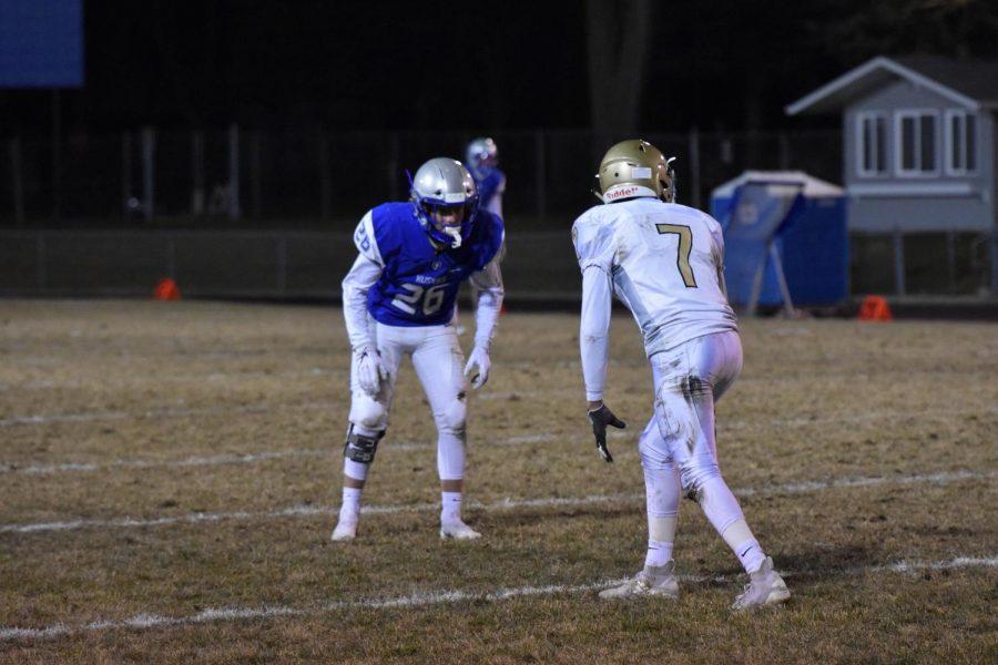Caleb Vereide lines up against a Spartan wide receiver.