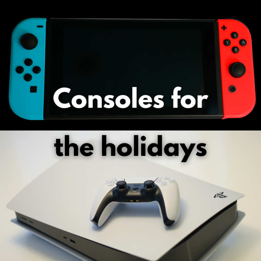 The highly anticipated PS5 (bottom) and classic Nintendo Switch (top) are a few of the consoles available for the holidays.