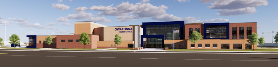 A rendering of the new Owatonna High School released in a presentation given to the Owatonna School Board on November 9. OHS students and staff look forward to moving into their new home in the fall of 2023. (Wold Architects)