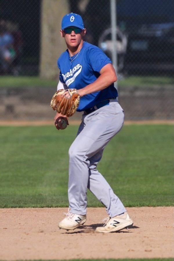 Matt Seykora fielding the ball in the infield