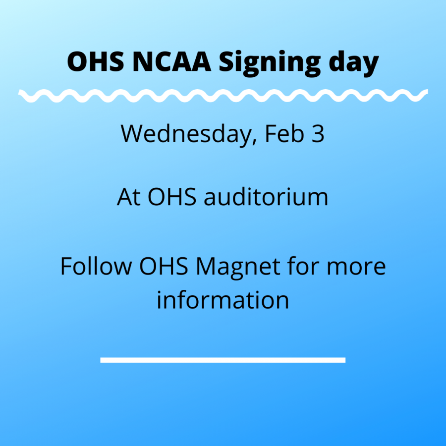 NCAA signing day will be held Wednesday, Feb .3 at 2:45