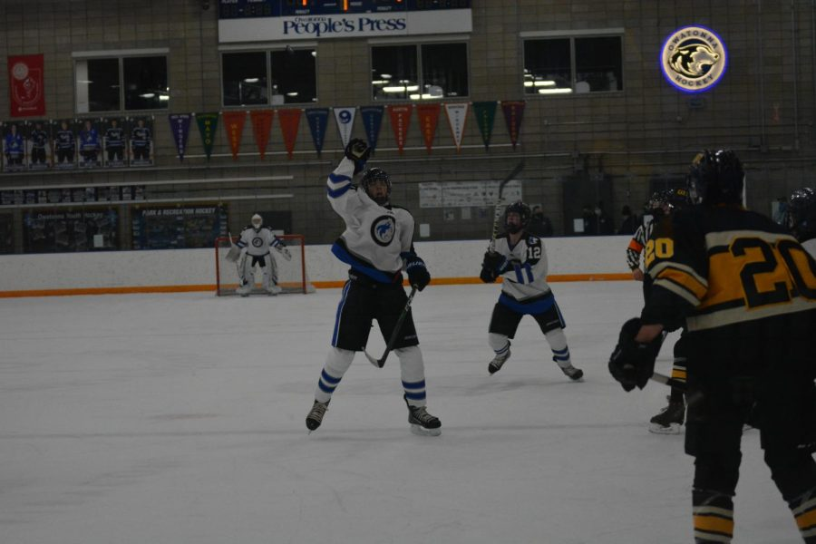 Senior Aaron Bangs tries to find the puck
