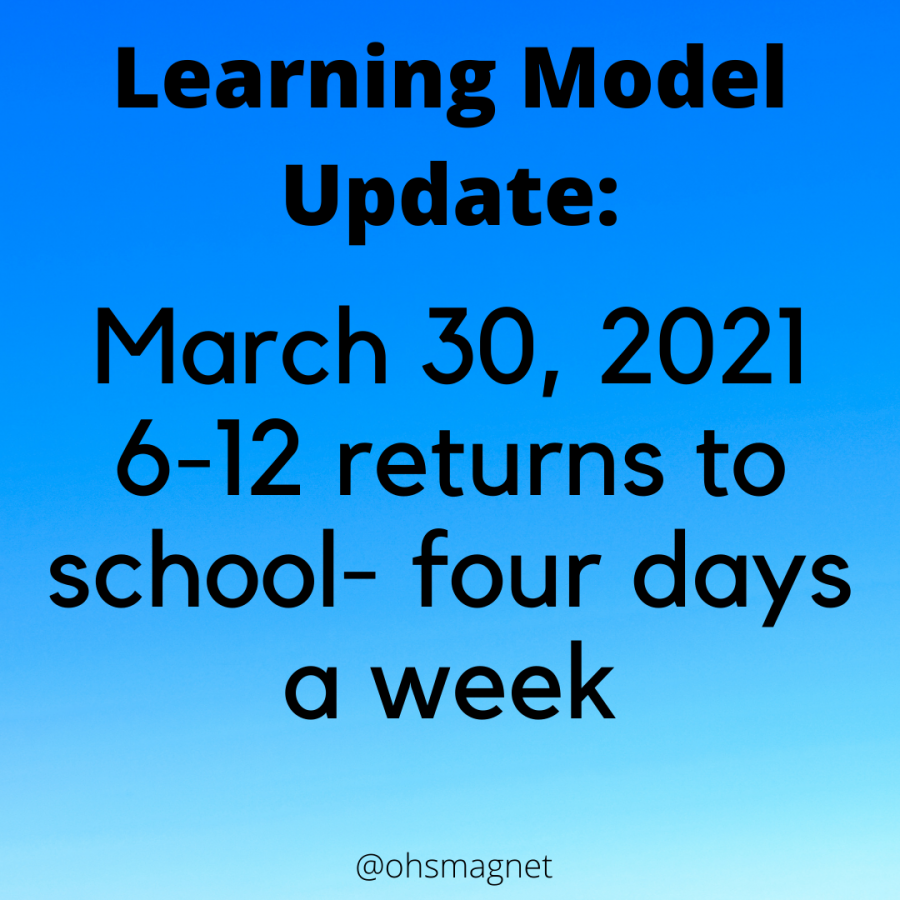 6-12 returns to school four days a week on March 30