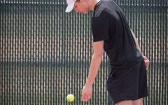 Lincoln Maher getting ready to serve