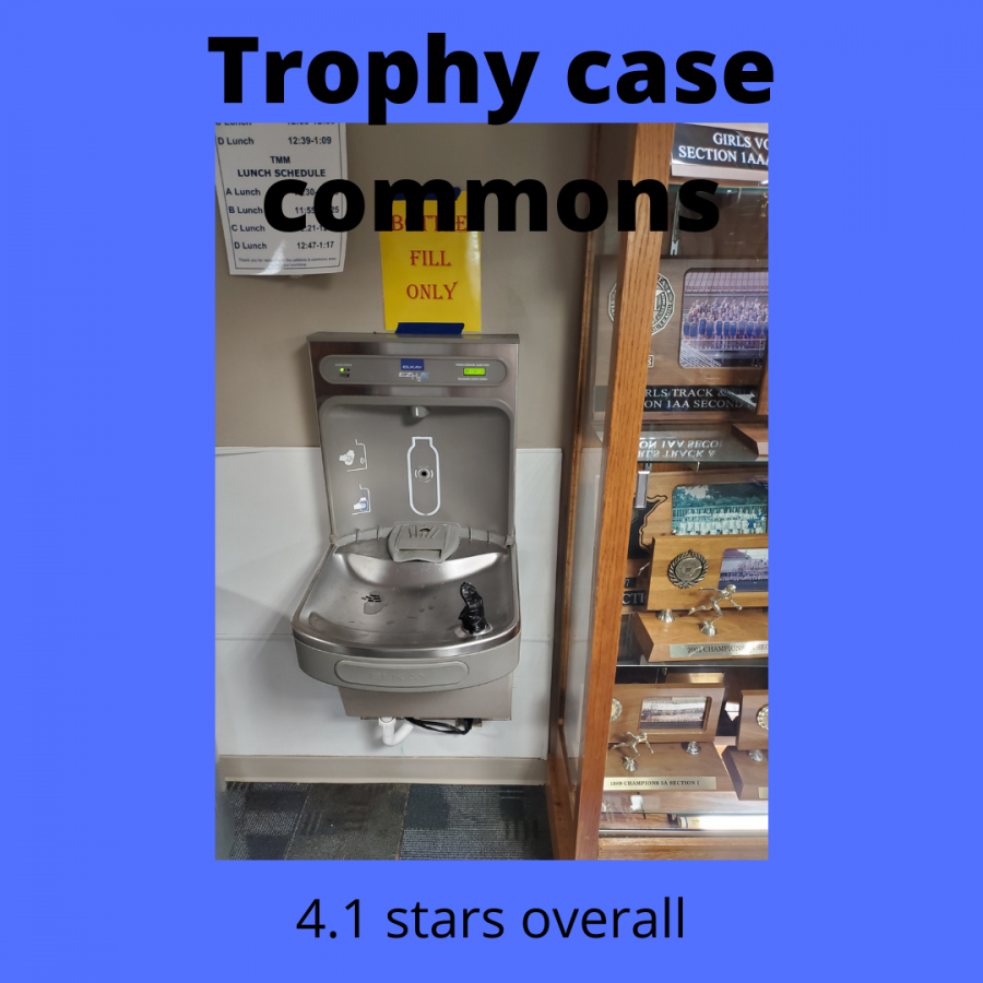 Photo of the water fountain next to the trophy case